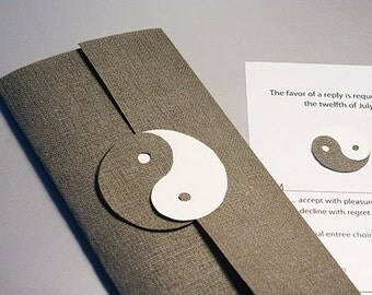 Wedding Invitation Set, Yin and Yang, Dao, Daoism, Chinese Philosophy, Cutout, Scrapbook, Papercut by Naboko
