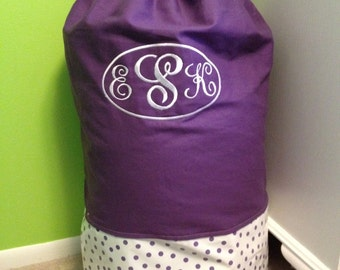Purple with Purple Polka Dot and 3 Letter Monogram Laundry Bag - Sleep Over Bag - Duffel Bag - Great Gift for Northwestern Students