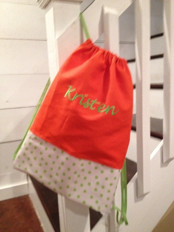 items similar to personalized and monogrammed orange with green polka dot cinch sack
