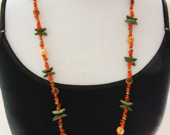 Gone Native - Carnelian, Wood, and Ceramic Necklace & Earring Set