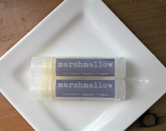 Marshmallow Flavored  Lip Balm, Vegan Lip Balm, Organic Lip Balm .15oz tube