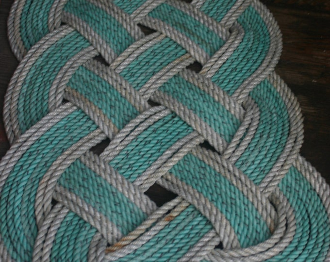 "Eco-Friendly Green with Silver Accented Trim Rope Rug 36"" x 15"" Recycled Rope Doormat Nautical"