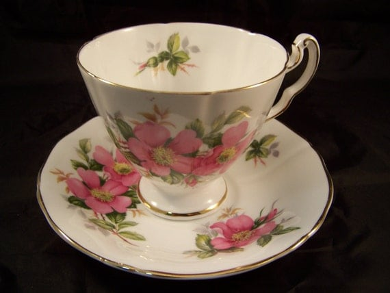 """Royal Adderley  """"Prairie Rose""""Canadian Provincial Flower Series Cup and Saucer"""