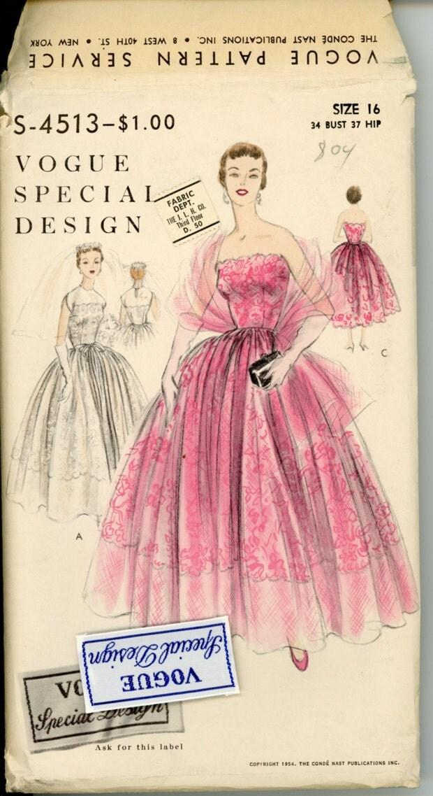 1950s Vogue Special Design 4513 Evening Dress Pattern Bust 34