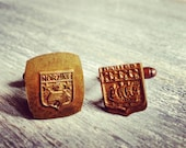 Ship & Cottage - Vintage French Medal Cuff LInks - Repurposed - One of a Kind - Gift Bag