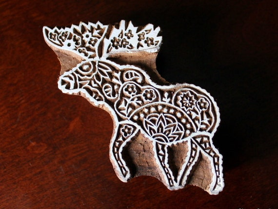 Hand Carved Indian Wood Textile Stamp Block- Moose