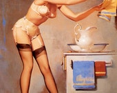 "Handprinted Cotton Art Applique Vintage Sexy Pin-up Girl Gil Elvgren ""Eye Catcher"", 1969"