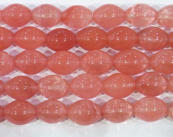 18x25mm Rice Cherry Quartz Bead Semiprecious Gemstone Bead Strand Wholesale Beads 6291 15''L Jewelry Supply Wholesale Beads