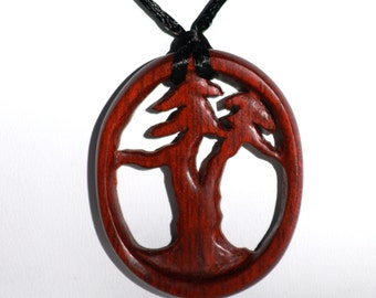 Bonsai Tree Pendant Necklace of BloodWood