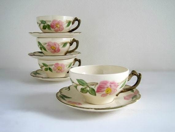 Vintage Floral China Cup & Saucer Sets - Franciscan Desert Rose