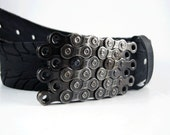 Recycled Bike Chain Belt Buckle- Flat- Clear Finish