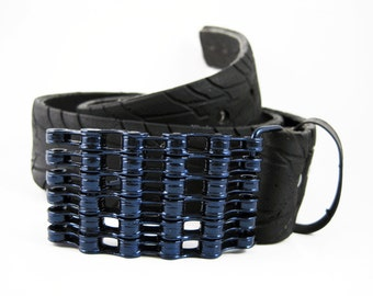 Recycled Bike Chain Belt Buckle- Curved- Iridescent Blue Finish