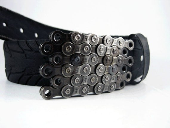 Recycled Bike Chain Belt Buckle- Flat- Clear Finish