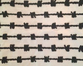 1 1/4 yards Vintage White Taffeta with Black Soutache Ribbon Fabric