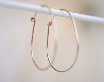 Oval Hoop Earrings, Oval Hoops, Silver, Gold Filled