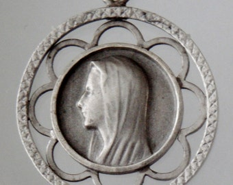 """Vintage Holy Virgin Mary Silver  Religious Medal Pendant on 18"""" sterling silver rolo chain"""
