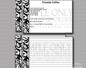 Editable and Printable - 4 x 6 BLACK Damask Recipe Cards - (2) PDF Files - Instant Digital Download