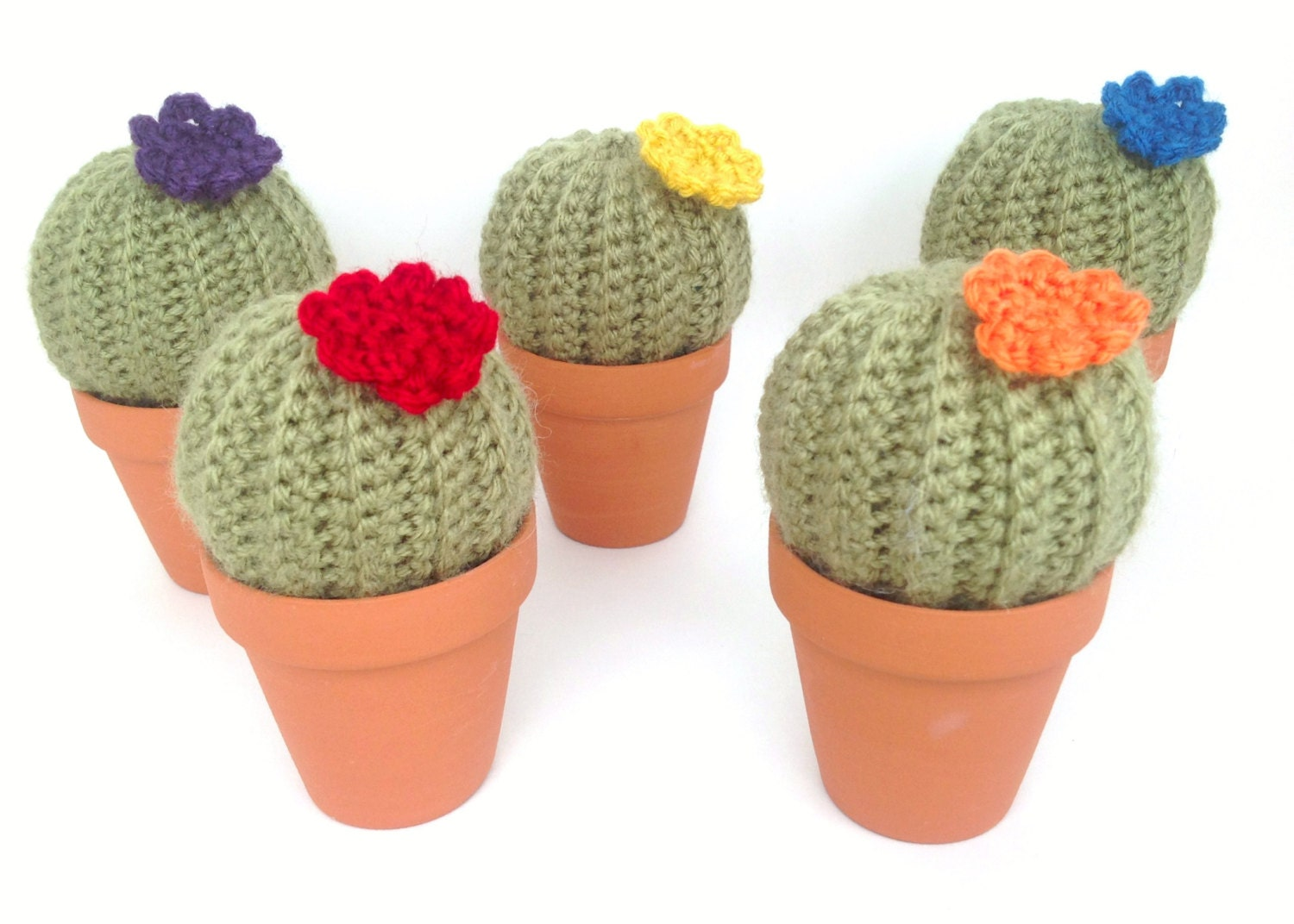 Mini cactus fake plant in clay pot with flower by for Small clay flower pots