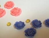4 Flat Back Flower Resin Cabochons in Light Blue