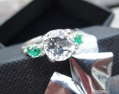 SUMMER SALE - Natural White Topaz and Created Emerald Engagement Ring - Size 7