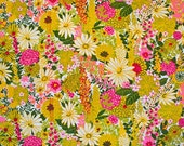 Terry cloth cotton fabric - Mod floral pink and yellow
