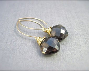 Smoky Quartz Dangle Earrings in 14K Gold Fill, Brown Gemstone Earrings, Wire Wrapped Quartz Earrings