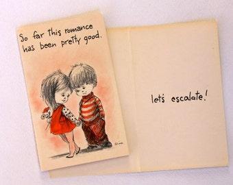 1960s vintage Sweethearts greeting card, unused, with envelope