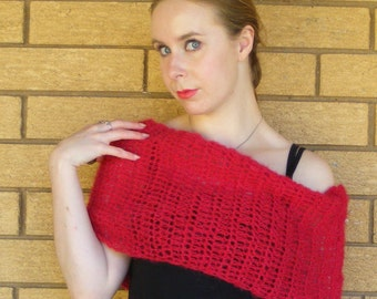 Cranberry crocheted cowl.