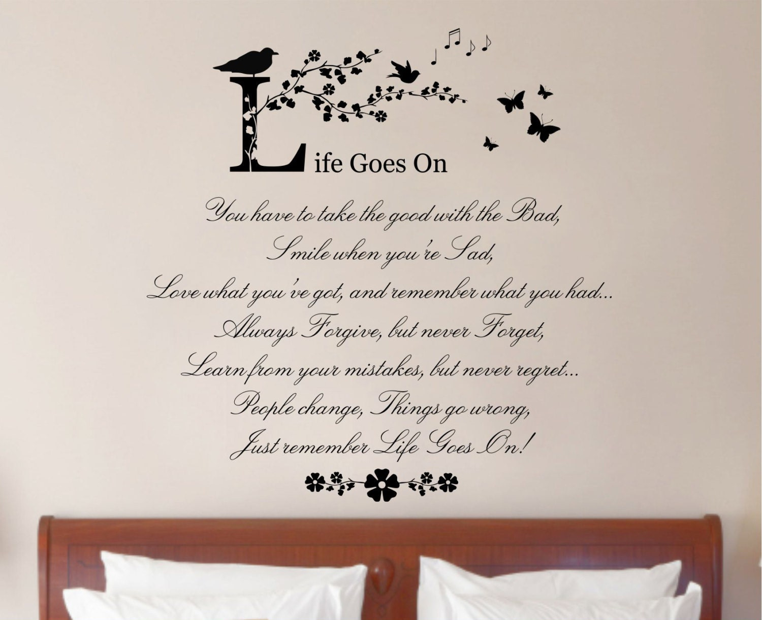 Life goes on quote vinyl wall art sticker decal mural home for Best quotes for wall art