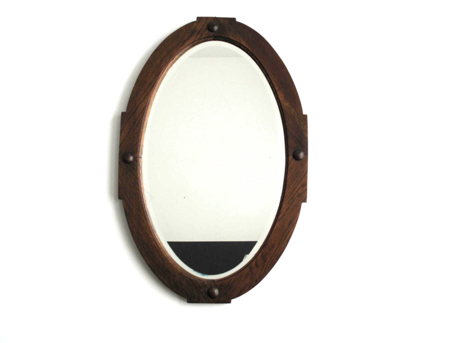 Antique Wood Framed Oval Wall Mirror Vintage By Snapshotvintage