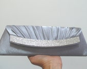 SALE - Silver Grey Bridal and Evening Clutch