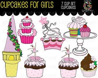 Cupcake Clipart Digital Clip Art Princess Party Cupcake Ballerina Cupcake Rapunzel Cupcake Clip Art  - Instant Download