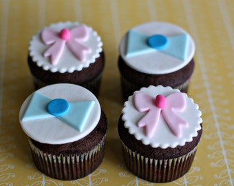 Gender Reveal Fondant Cupcake Toppers for your Baby's Gender Reveal Party