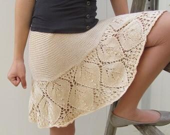 Cream lace skirt, Hand knit Lace skirt, Vintage skirt Lace skirt sexy designer skirt Boho skirt trendy skirt Summer skirt mini skirt