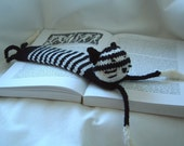 Bookmark Hand Knitted Cat Black and White Handmade Cute UK Seller Cat Lover Present Christmas Birthday Gift