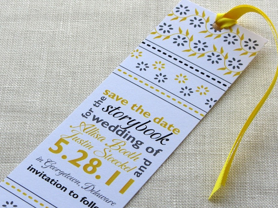 Bookmark Save the Date - Indian Block Print with Typographic Layout