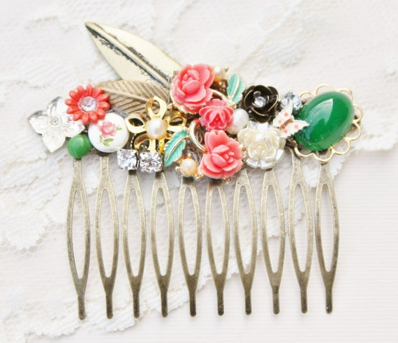 Coral & Green Bridal Hair Comb,Vintage Collage,As Seen In COSMO,Floral,Vintage Assemblage,Upcycled,Repurposed Jewlery,OOAK Bridal Headpiece