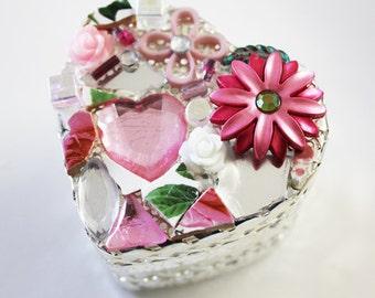 Silver Filigree Mosaic Heart Boxes