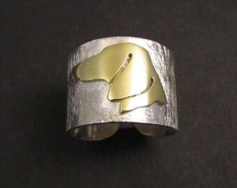Dachshund minimalist ring