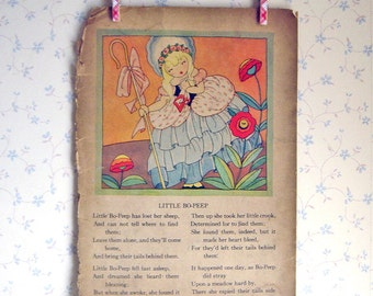 Vintage Art Deco Mother Goose Illustration - Little Bo Peep/There Was An Old Woman