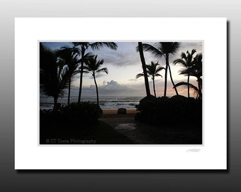 Dominican Sunrise Art Print, Passing Storm, Signed Matted Print, Fits 5x7 inch frame
