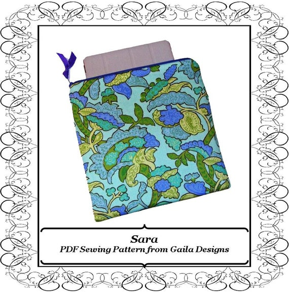 """PDF Sewing Pattern iPad, iPad Air, iPad Pro 9.7 or other tablet computers case cover simple square with zipper fully lined """"Sara"""""""