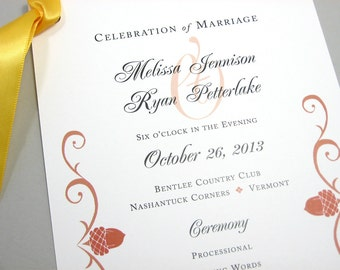 Fall Wedding Program Autumn Acorn Rust Scroll Wedding Ceremony Program Traditional Ceremony Classic Wedding