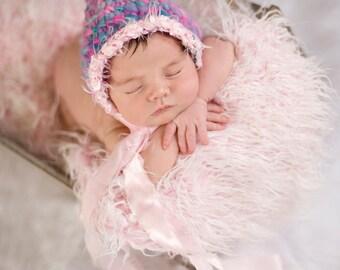 Knit Baby Bonnet Pattern - Knit Bonnet Newborn Photo Prop Pattern - Newborn Girl Hat Photo Prop Knitting Pattern - Baby Bonnet Knit Pattern