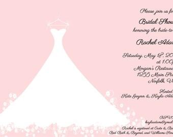 Bridal Shower Invitation Pink Wedding Gown -  Bridal Luncheon, Bridal Tea Invitation, Printed