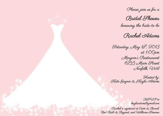 Items similar to Bridal Shower Invitation Pink Wedding Gown – Wedding Dress Shower Invitations