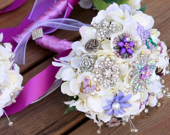 Brooch Bouquet Vintage wedding jewelry bouquet purple silver bridal button bouquet, Deposit only