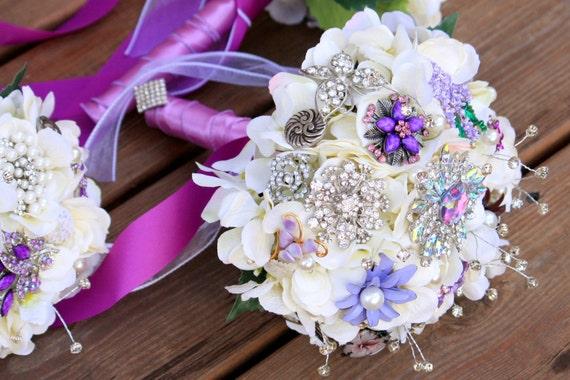 Button Bridal Bouquet Etsy : Brooch bouquet vintage wedding jewelry purple silver