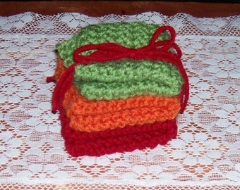 Eat Your Vegetables Set of 3 Crocheted Dishcloths in Red, Orange, and Green