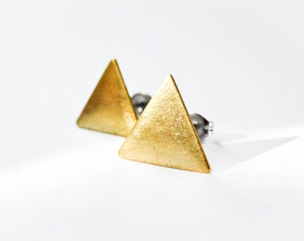 Triangle Earrings - Jewelry Geometric - Brass Triangles - Surgical Steel Earrings - Stud Earrings - Brass Jewelry